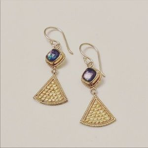 NWOT Anna Beck Blue Lapis Gold & Silver Earrings